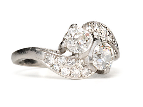 Art Deco Diamonds  in a Platinum Bypass Ring