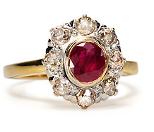Art Deco Ruby & Diamond Cluster Ring
