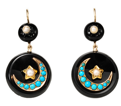 Victorian Dream: Onyx & Turquoise Earrings
