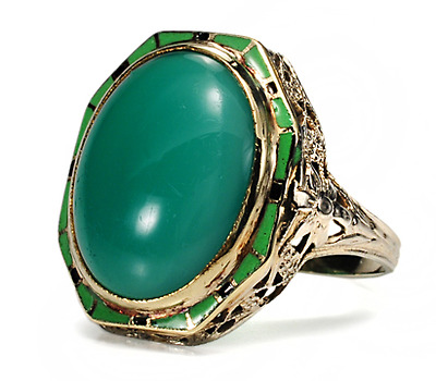 Art Deco Dandy: Chrysoprase & Enamel Ring