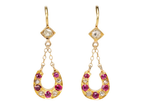 Edwardian Ruby & Diamond Horseshoe Earrings