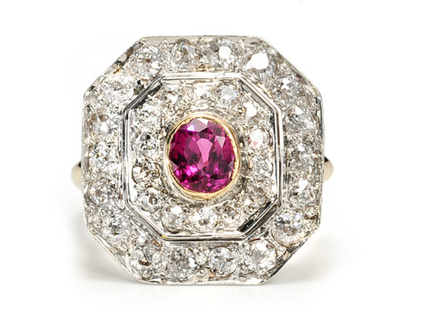 Essence of Edwardian: Diamond Ruby Ring
