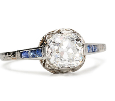 Early 20th C. Sapphire & 1.12 c. Diamond Ring