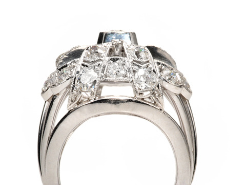 Grand Art Deco Diamond Dome Ring