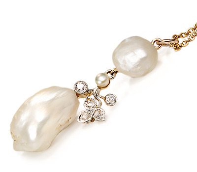 Edwardian Baroque Pearl & Diamond Pendant