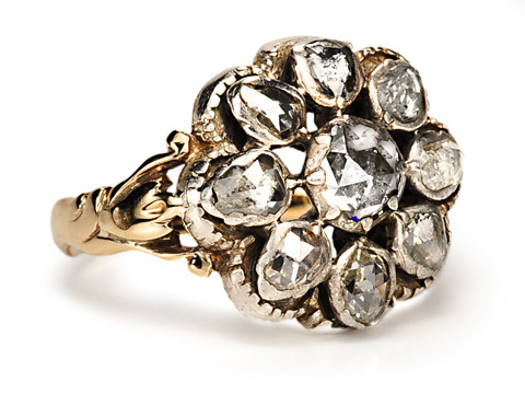 Glorious Georgian Diamond Cluster Ring