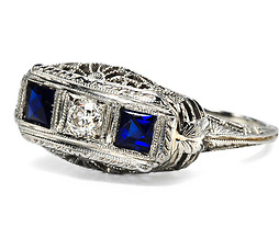 High Tech in an Art Deco Sapphire Diamond Ring
