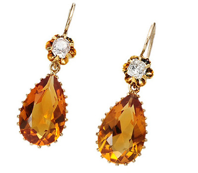 Antique Citrine & Diamond Earrings