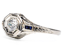 Signed Belais Art Deco Diamond Sapphire Ring