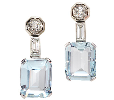 Late Art Deco Aquamarine Diamond Earrings