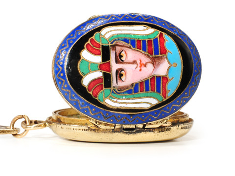 Art Deco Egyptian Revival Enamel Locket Pendant
