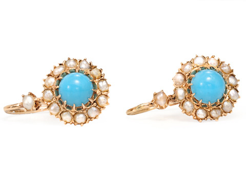 Antique Turquoise & Pearl Cluster Earrings