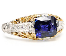 Scrolled Estate Beauty: Sapphire Diamond Ring