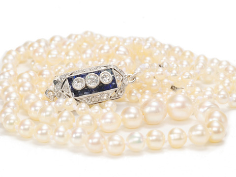 Exquisite Strand of Edwardian Natural Saltwater Pearls
