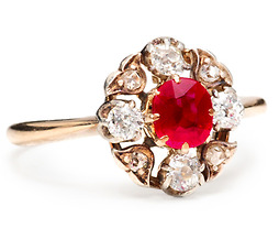 Strawberries & Ice: Antique Ruby Diamond Ring