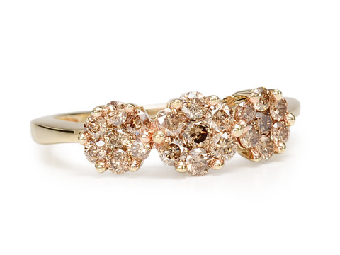 Shimmering Cluster Brown Diamond Ring