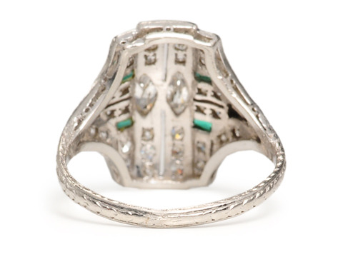 Art Deco Dazzle: Diamond & Emerald Ring