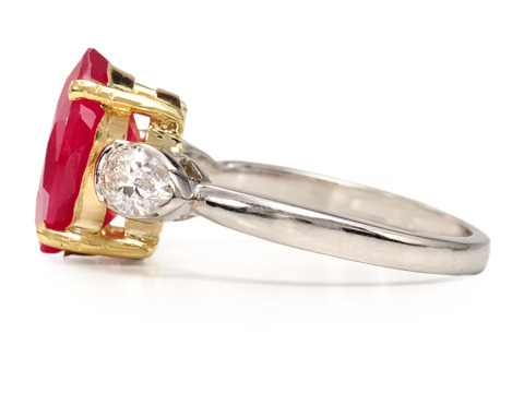 Luscious Fruit: Ruby & Pear Diamond Estate Ring
