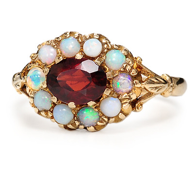 English Riches: Ring of Garnet & Opals