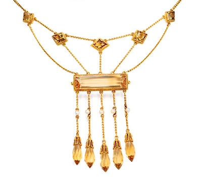 Festoon Festivities: Art Nouveau Citrine Necklace