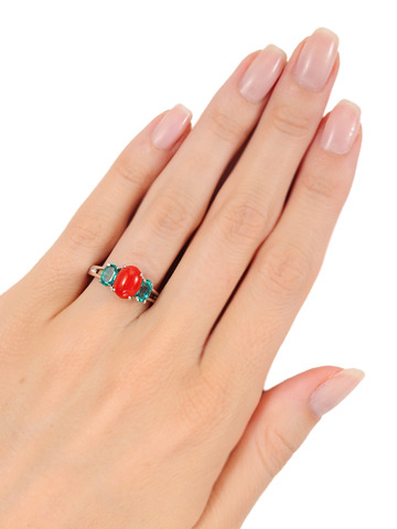 Coral & Emerald Estate Ring