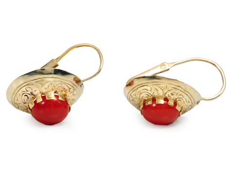 Italian Coral & Gold Earrings