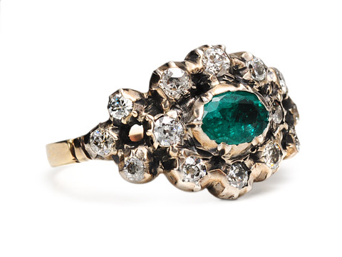 Georgian Revival Emerald Diamond Ring