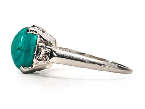 Emerald & Diamond Stars in a Modern Ring