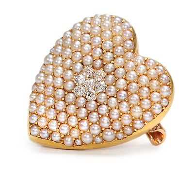 Signed Krementz Diamond Pearl Brooch Pendant