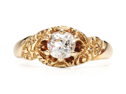 Precursor to Art Nouveau: Solitaire Diamond Ring