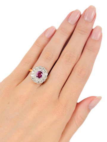 Edwardian Bouquet: No Heat Pink Sapphire  Diamond Cluster Ring