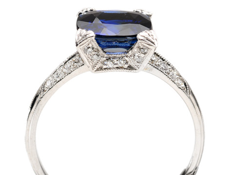 Platinum Promise: No Heat Sapphire Diamond Ring