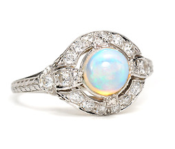 Art Deco Opal Platinum Ring of 1923