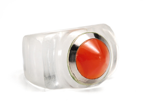 Art Deco Carnelian & Rock Crystal Ring