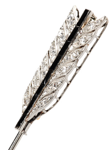 Pierced by Love: Art Deco Diamond Onyx Brooch