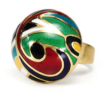 Abstract Swirls: Gold Enamel Bubble Ring