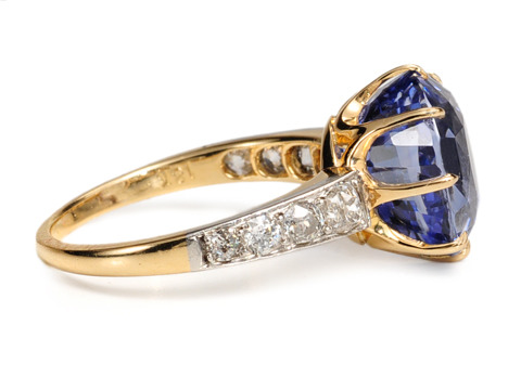 Spectacular Antique No Heat Sapphire Diamond Ring