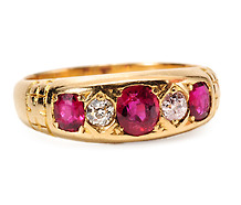 Five Star Edwardian Ruby Diamond Ring
