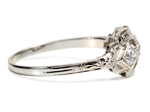 Triple Diamond Art Deco Engagement Ring