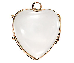Antique Puffy Rock Crystal Heart Locket