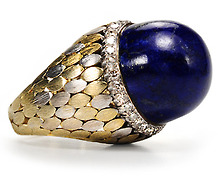 Dramatic Lapis & Diamond Ring
