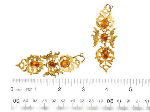 Lyrical Antique Paste-Set Gold Earrings