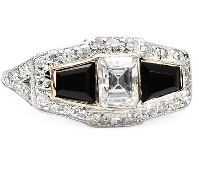 Art Deco Black & White Diamond Onyx Ring
