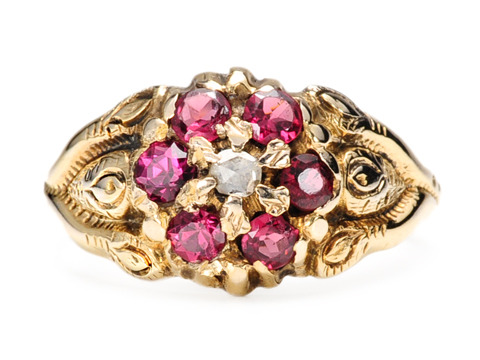 Ornate Victorian Garnet Diamond Cluster Ring