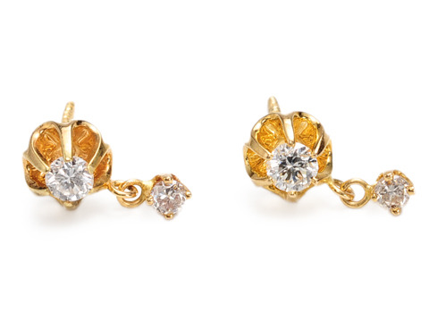 Dew Drops & Flowers in a 20th C. Earring