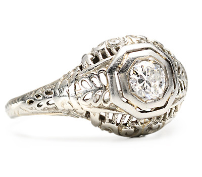 Openwork Art Deco Diamond Engagement Ring