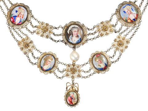 Scarce 18th C. Enamel Festoon Necklace