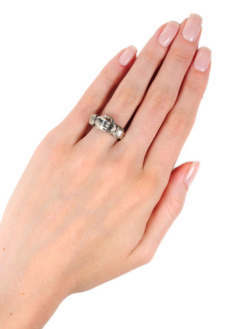 Clasped Hands: Antique Silver Fede Ring