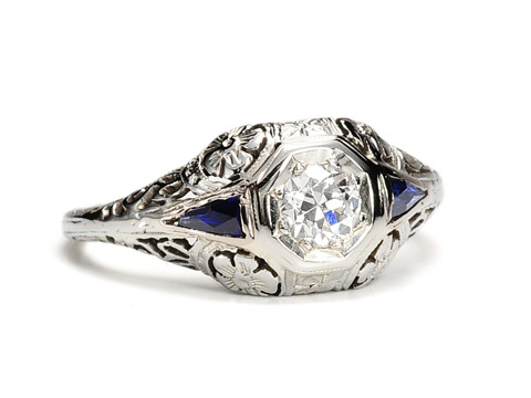 Art Deco Signed Belais Diamond Sapphire Ring