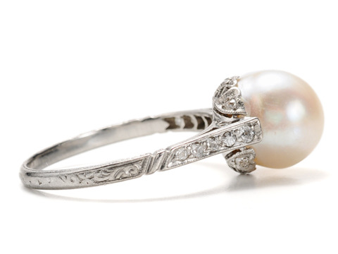 Edwardian Delicacy of a Pearl Diamond Ring